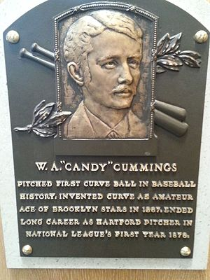 Candy Cummings - Plaque of Candy Cummings at the Baseball Hall of Fame