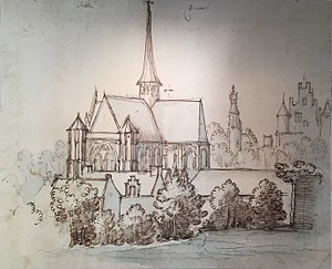Church of Our Blessed Lady of the Sablon - The church in 1612, as drawn by Remigio Cantagallina.