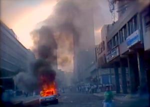 Caracazo - Smoke billowing from fires throughout Caracas