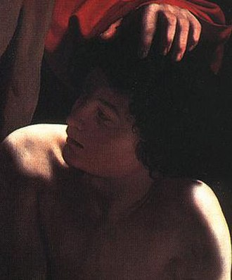 John the Baptist (Caravaggio) - Sacrifice of Isaac, Caravaggio, c. 1598 (detail showing the head of Isaac). Private collection, Princeton, New Jersey - the resemblance between the two heads suggests that the disputed John the Baptist in Toledo is by the same artist.