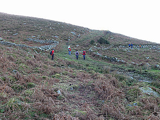 History of roads in Ireland - Hikers at the junction of old trackways crossing the Blackstairs Mountains from Co. Carlow to Co. Wexford