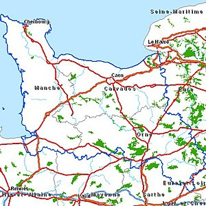 Operation Titanic - Map of the Operation Titanic area Seine-Maritime in the east, Manche in the west and Caen in the centre