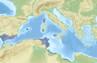 Carthaginian-held territory before the first First Punic War Carthage Holdings.png