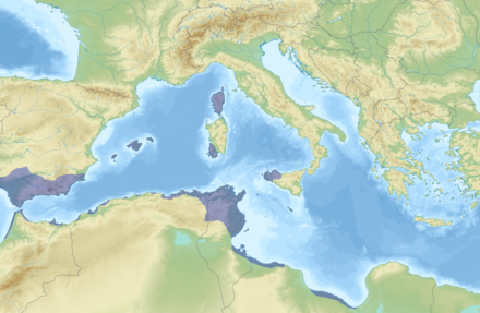 Carthaginian-held territory in the early 3rd century BC Carthage Holdings.png