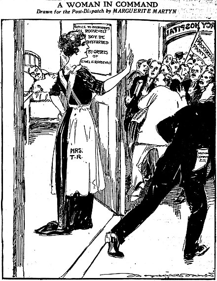Cartoon by Marguerite Martyn of the St. Louis Post-Dispatch portrays Edith Roosevelt keeping people away from the president's room after he was shot in October 1912. Cartoon by Marguerite Martyn portraying Edith Roosevelt guarding the door to Theodore Roosevelts room.jpg
