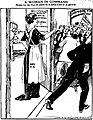 Cartoon by Marguerite Martyn portraying Edith Roosevelt guarding the door to Theodore Roosevelts room.jpg