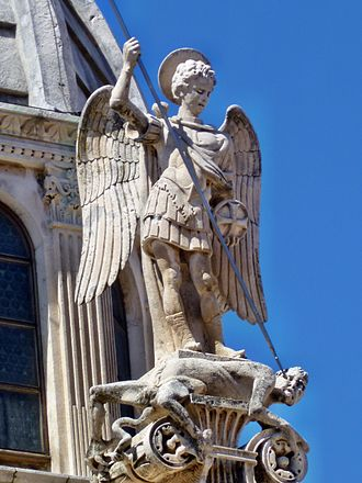 Niccolò di Giovanni Fiorentino - St.Michael, sculpture by Niccolò di Giovanni Fiorentino on the dome of the Cathedral of St. Jacob in Šibenik, Croatia