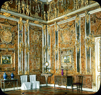 Amber Room - Image: Catherine Palace interior Amber Room (1)