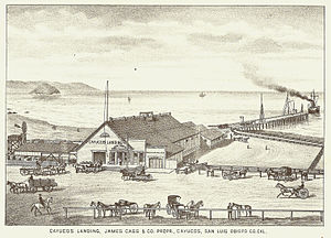 Cayucos, California - Cayucos Landing, 1883. Captain Cass's warehouse still stands, though his pier has been rebuilt.
