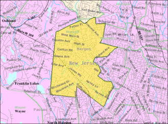 Wyckoff, New Jersey - Image: Census Bureau map of Wyckoff, New Jersey