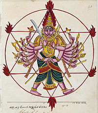 A man with 16 hands and two cross legs standing inside a circle and holding different weapons with his hands.