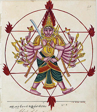 Sudarshana Chakra - Sudarshana Chakra depicted as an ayudhapurusha and fierce aspect of his owner Vishnu.