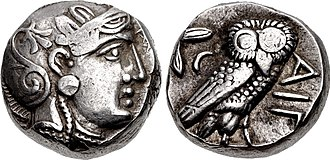 Kabul hoard - A late Iranian imitation of 5th century Athenian tetradrachm, minted under Achaemenid rule, of the type included in the Kabul hoard (dated to 380 BCE).