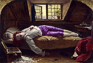 1770 in poetry - The Death of Chatterton, 1856, by Henry Wallis, the most famous image of Thomas Chatterton in the 19th century. The English poet and forger committed suicide on August 24, at the age of 17. (The figure of the poet was modelled by the young George Meredith)