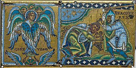 The right panel shows Emperor Heraclius, in armor, holding a sword and preparing to strike the submissive Khosrau. The left panel shows a cherub with palms open.