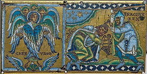 Medieval style portrait of Cherub and Heraclius receiving the submission of Khosrau II; plaque from a cross (Champlevé enamel over gilt copper)
