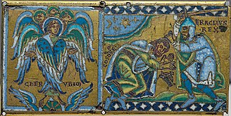 Heraclius - Cherub and Heraclius receiving the submission of Khosrau II; plaque from a cross (Champlevé enamel over gilt copper, 1160–1170, Paris, Louvre). This is an allegory as Khosrau never submitted in person to Heraclius.