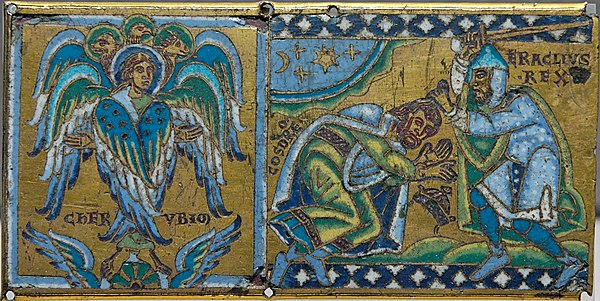 Cherub and Heraclius receiving the submission of Khosrau II; plaque from a cross (Champlevé enamel over gilt copper, 1160–1170, Paris, Louvre). This is an allegory as Khosrau never submitted in person to Heraclius. Cherub plaque Louvre MRR245.jpg