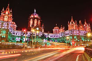 Chhatrapati Shivaji Terminus (formerly Victoria Terminus) - Lit up on Republic Day 2015 - Trail Lights.jpg