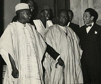 Kashim Ibrahim - On the steps of Nigeria House in London, Alhaji Sa'adu Alanamu (Agent General, Northern Nigeria), Sir Kashim Ibrahim, KBE (As Governor, Northern Nigeria) and Chief Arthur Prest during Sir Kashim Ibrahim's visit to the Nigeria House