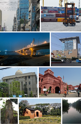 Chittagong - 1. Agrabad 2. Port of Chittagong 3. Shah Amanat Bridge 4. Radisson Blu Tower 5. Jamuna Bhaban 6. Chittagong Court House 7. Portuguese Fort tower ruins 8. Commonwealth War Cemetery, Chittagong 9. Foy's Lake