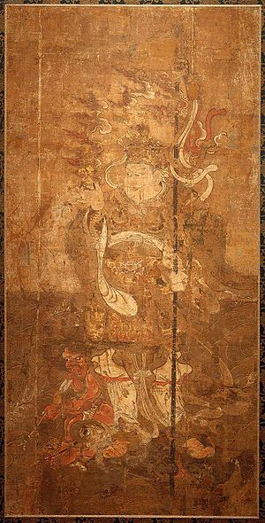 Vaiśravaṇa - Painting of Tamonten, the Guardian of the North (guardian of the fields). circa. 13th century.