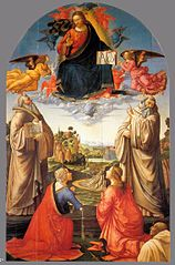 Christ in Heaven with Four Saints and a Donor
