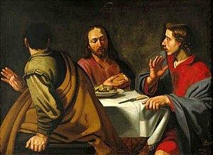 Christ with his two disciples at Emmaus