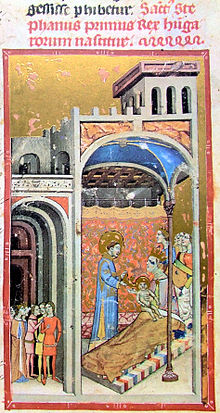 Miniature of an illuminated manuscript depicting a birth.