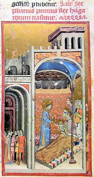 Fájl:Chronicon Pictum P037 Szent István születése.JPG