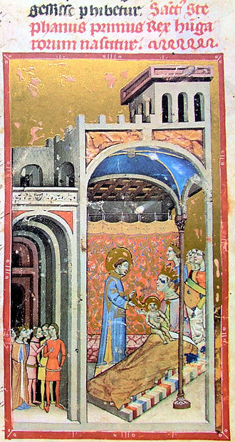 Sarolt - .Stephen's birth depicted in the Illuminated Chronicle