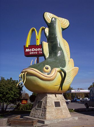 Channel catfish - Chuck the Channel Catfish, 1986 roadside sculpture in Selkirk, Manitoba Canada