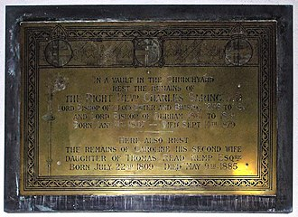 Charles Baring - Brass plaque memorial to Charles Baring in Holy Innocents Church, High Beach, Essex, the place where he is interred