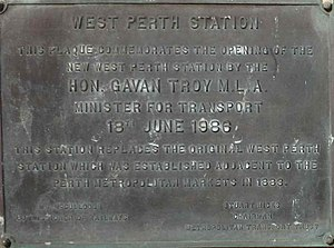 City West railway station - Image: City West May 2014 plaque 1