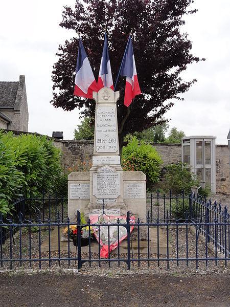 Clamecy (Aisne) monument aux morts