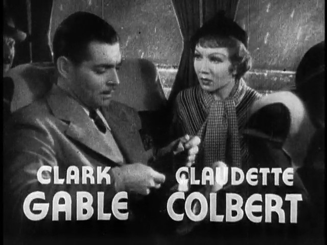 Clark Gable and Claudette Colbert in It Happened One Night film trailer