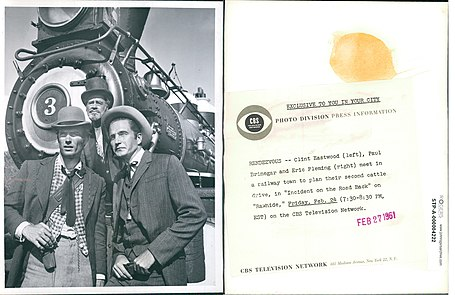 File:Clint Eastwood Paul Brinegar Eric Fleming Rawhide 1961.jpg