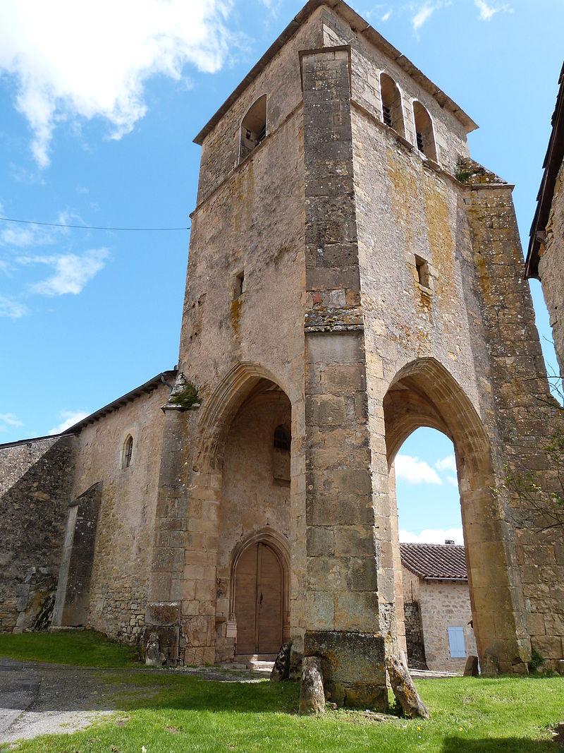 Clocher-porche de l'église de Toulonjac (Aveyron).JPG
