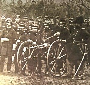 "Agar gun - Ager ""Coffee Mill"" gun in the hands of the 96th Pennsylvania Volunteer Regiment, Camp Northumberland, northern Virginia, February 1862"