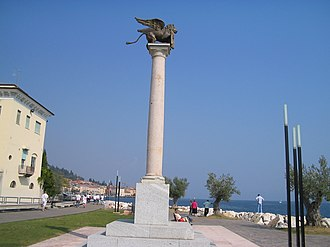 Salò - The Column with the winged lion of St. Mark, symbol of Venetian Republic