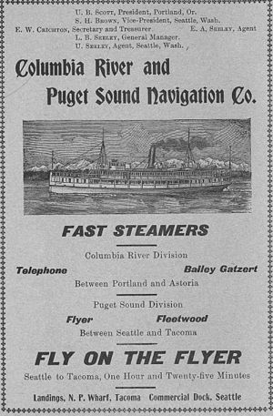 Bailey Gatzert (sternwheeler) - Advertisement for the steamers of the Columbia River and Puget Sound Navigation Company, with Bailey Gatzert and Telephone running on the Columbia River.