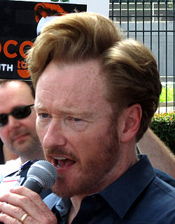 Conan O'Brien speaking at TBS rally crop.jpg