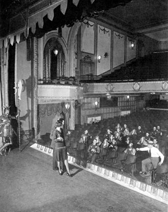 Lew Fields - Constance Carpenter and William Gaxton, principals of the original Broadway production of Rodgers and Hart's A Connecticut Yankee, on stage at the Vanderbilt Theatre during a mid-run rehearsal of the hit musical (1928). Producer Lew Fields is seen at right, in shirtsleeves.