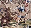 Constantine Slaying the Lion (tapestry) - 1637, detail.jpg