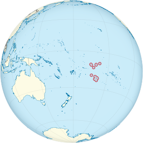 Cook Islands on the globe (small islands magnified) (Polynesia centered).svg