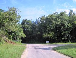 Site of the former intersection of Clarksburg and Imlaystown-Hightstown Roads
