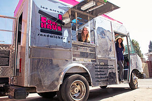 Coolhaus - Co-founders Natasha Case and Freya Estreller in a Coolhaus ice cream truck