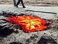 Cooling the burning white charcoal binchotan by sand at Vietnam Binchotan Joint Stock Company.JPG