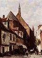 Cornelis Springer - A Busy Street In Bremen - ca 1864.jpg