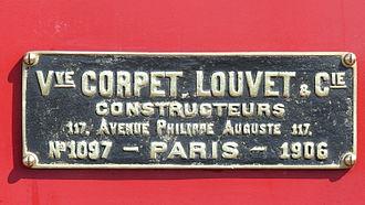 Corpet-Louvet - Image: Corpet Louvet N°1097 CDA N°1 Plaque de constructeur